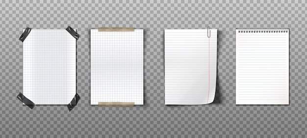 Realistic collection of paper notes with tapes, paperclip and spiral notebook Free Vector
