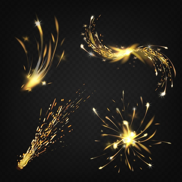 Realistic collection of sparks from welding or cutting metal, fireworks. bright shining comet Free Vector