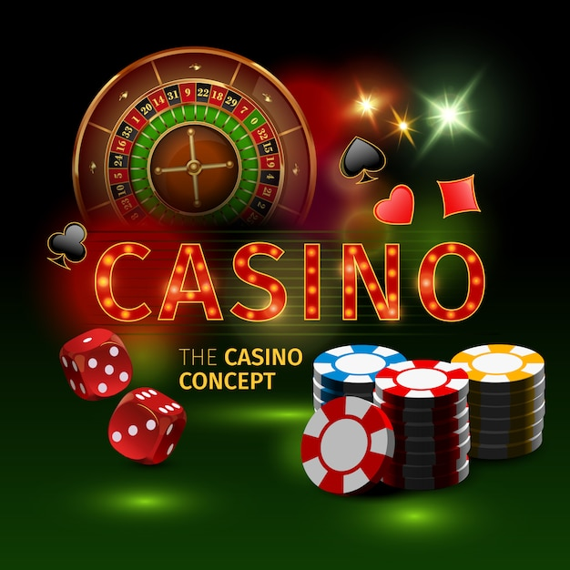 Realistic and colored casino online games with roulette dice and ...