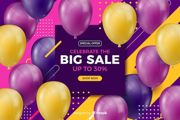 Realistic colorful balloons sale background with text Free Vector