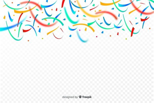 Realistic colorful confetti background Free Vector