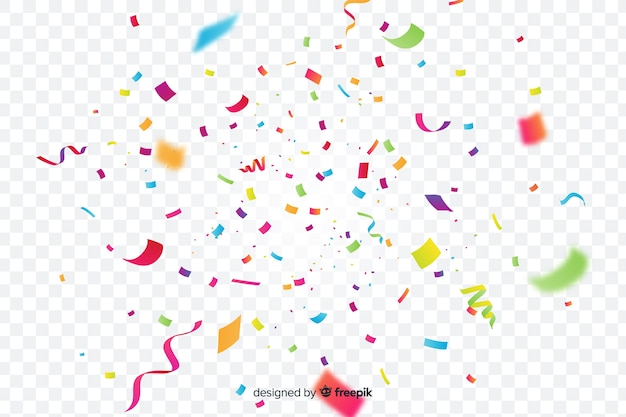 Realistic colorful confetti background Free Vector