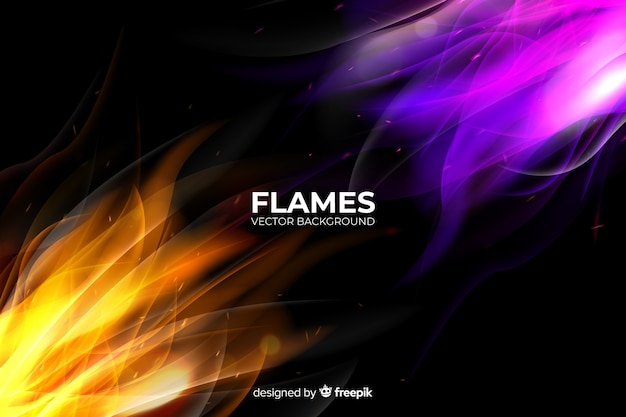 Realistic colorful flames background Free Vector