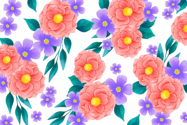Realistic colorful hand painted floral background Free Vector