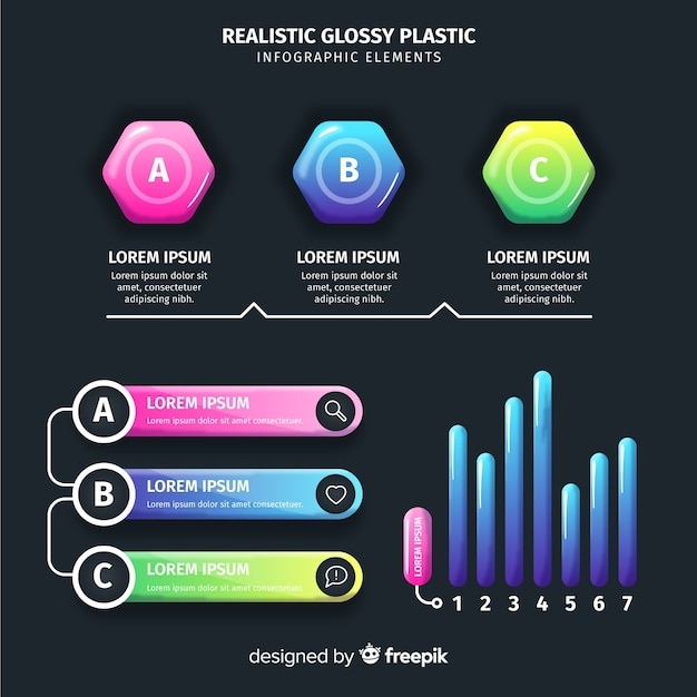 Realistic colorful infographic elements collection Free Vector