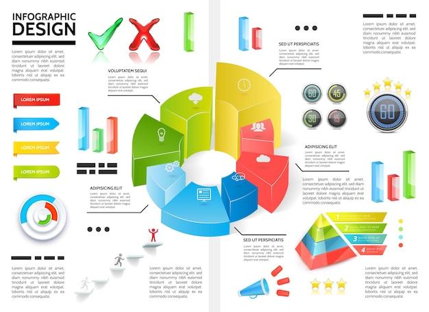 円図チャートピラミッドリボンチェックマークメガホンバービジネスアイコンイラストとリアルなカラフルなインフォグラフィック 無料ベクター