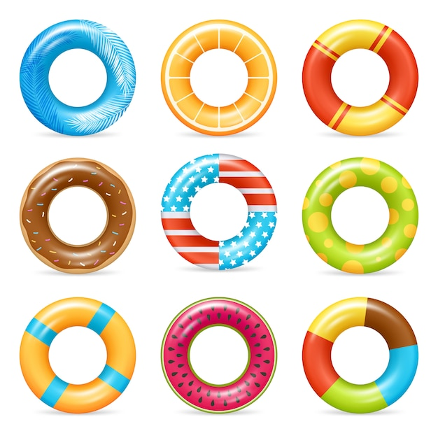 Realistic colorful life rings set Free Vector