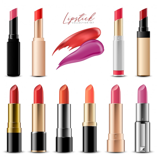 Realistic colorful lipstick collection set, vector illustration Premium Vector