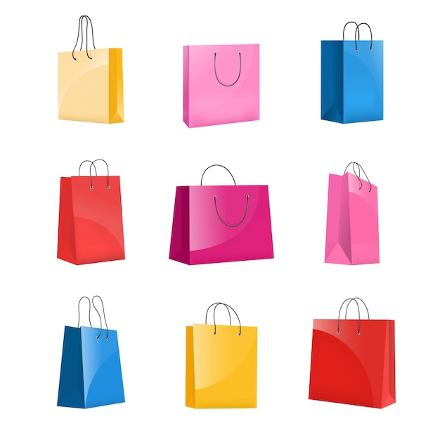 Realistic colorful paper shopping bag set Premium Vector
