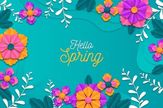 Реалистичный красочный весенний фон в бумажном стиле Бесплатные векторы