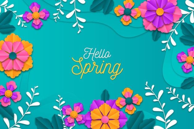 Realistic colorful spring background in paper style Free Vector