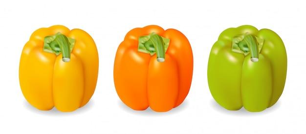 Peperone giallo, arancio e verde realistico e colorato Vettore gratuito
