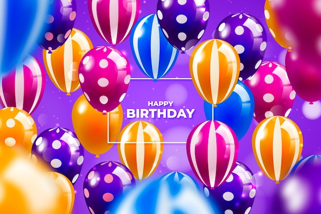 Realistic colourful birthday balloons background Free Vector