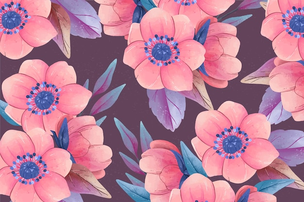 Realistic colourful hand painted floral background Free Vector
