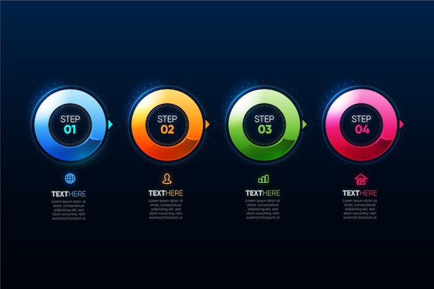 Realistic colourful infographic template with steps Free Vector