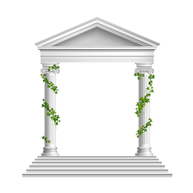 Realistic columns decorated green leaves with roof and base with stairs composition on white Free Vector