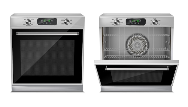 Realistic compact oven with digital display, timer, pre-set cooking programs Free Vector