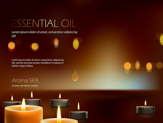 Realistic composition for aroma spa therapy, relaxation, meditation of burning candles. Free Vector