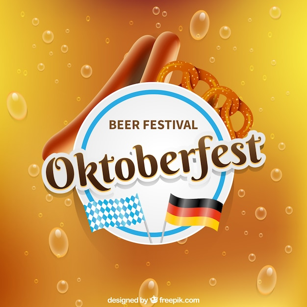 Realistic composition for oktoberfest with pretzel and sausages