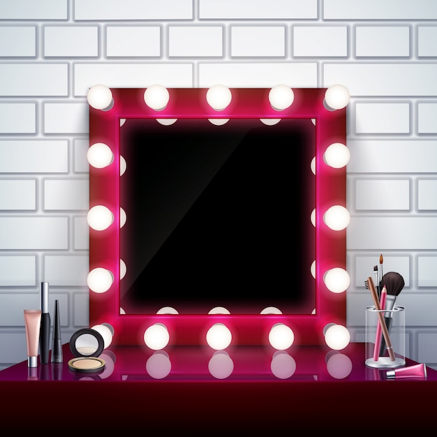 Realistic composition with pink makeup mirror cosmetics and brushes on table vector illustration Free Vector