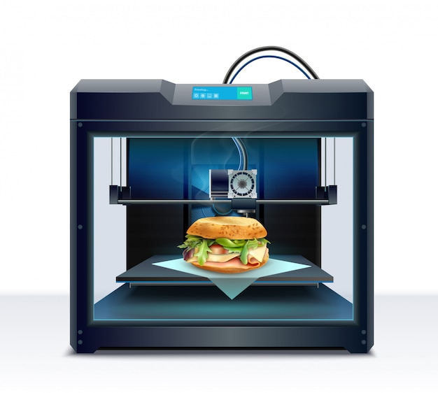 Realistic composition with process of burger 3d printing vector illustration Free Vector