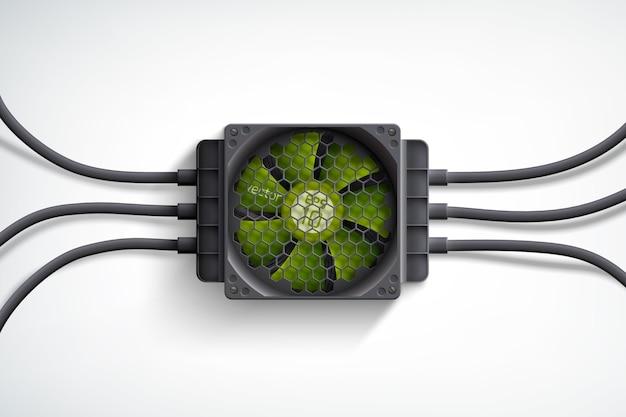 Dispositivo di raffreddamento del computer realistico con ventola verde e concetto di design di fili neri su bianco Vettore gratuito