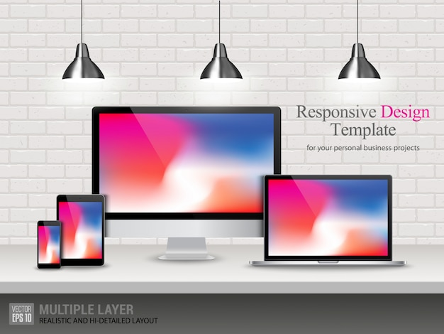 Realistic computer, laptop, tablet and mobile phone Premium Vector