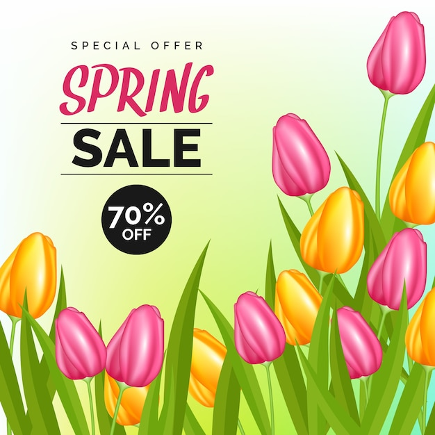 Realistic concept for spring sale Free Vector