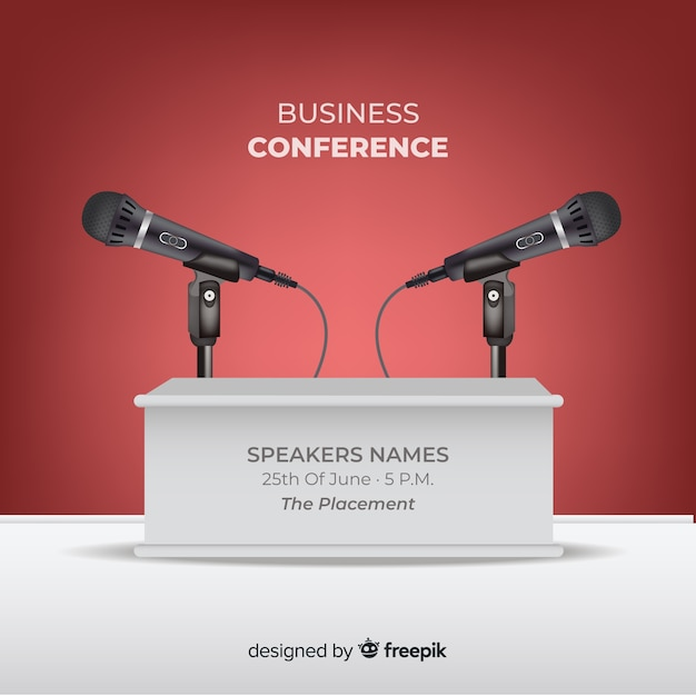 Realistic conference podium background Free Vector