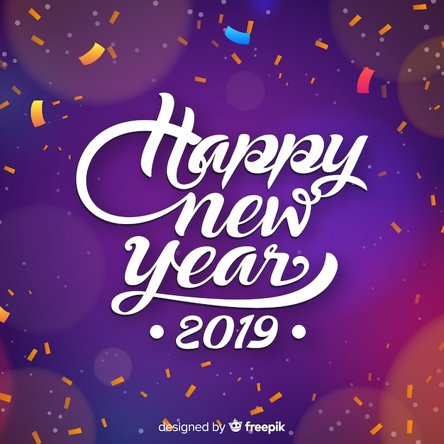 realistic confetti new year background free vector
