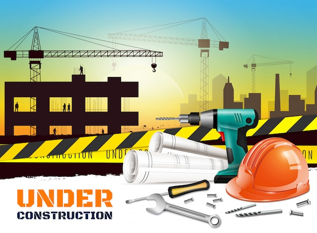 Realistic construction background with under construction headline and different equipment on front side  illustration Free Vector