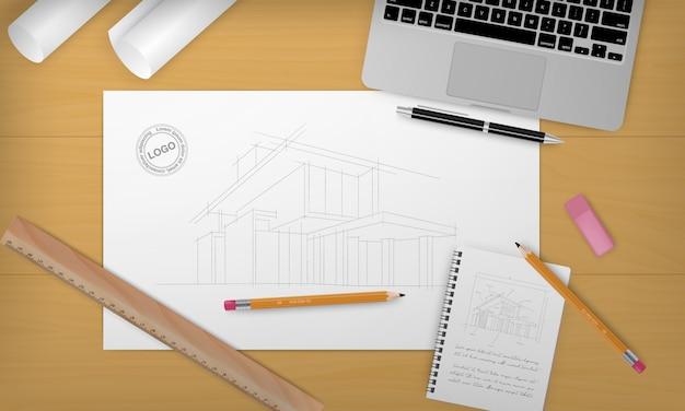 건설 헤드 라인 및 전면에 다른 장비와 현실적인 건설 배경 프리미엄 벡터