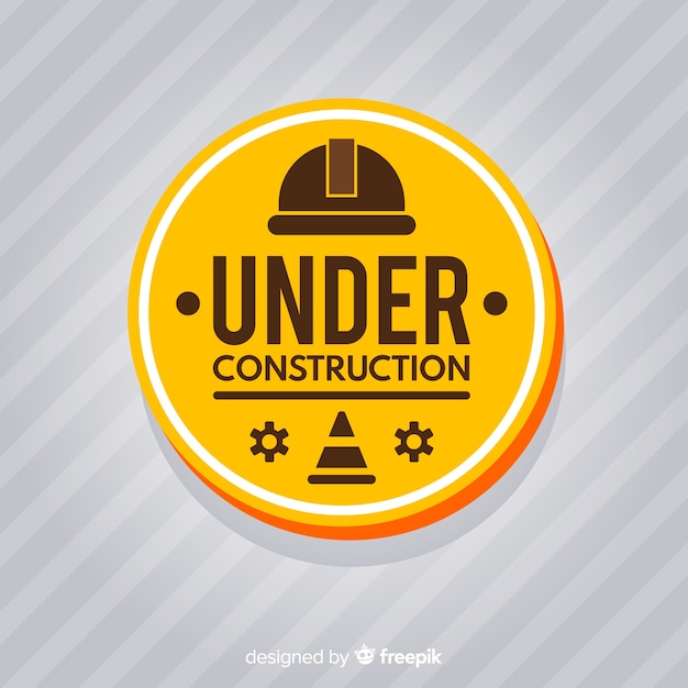 Realistic under construction sign background Free Vector