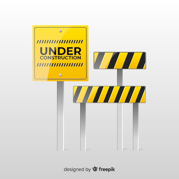 Realistic under construction sign Free Vector