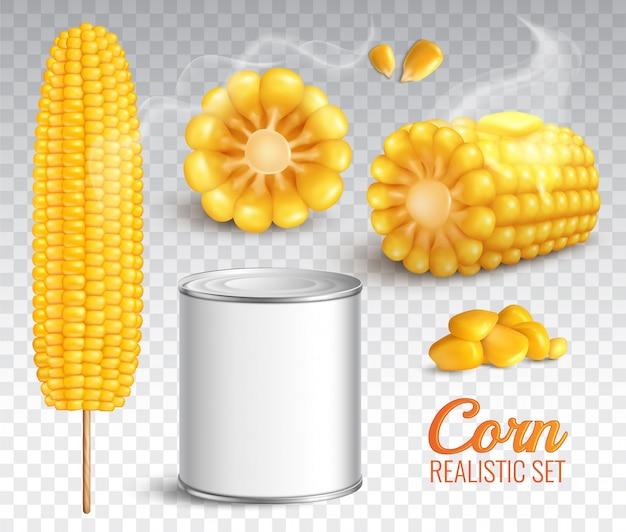Реалистичная кукуруза прозрачный набор Бесплатные векторы