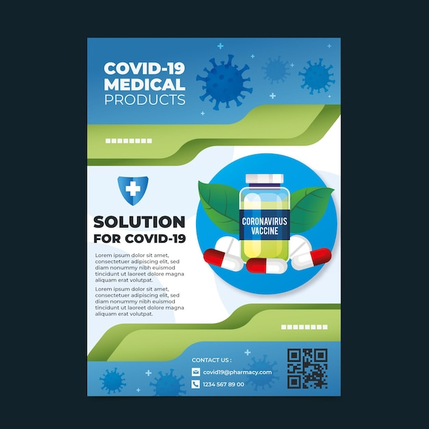 Realistic coronavirus medical products flyer template Free Vector