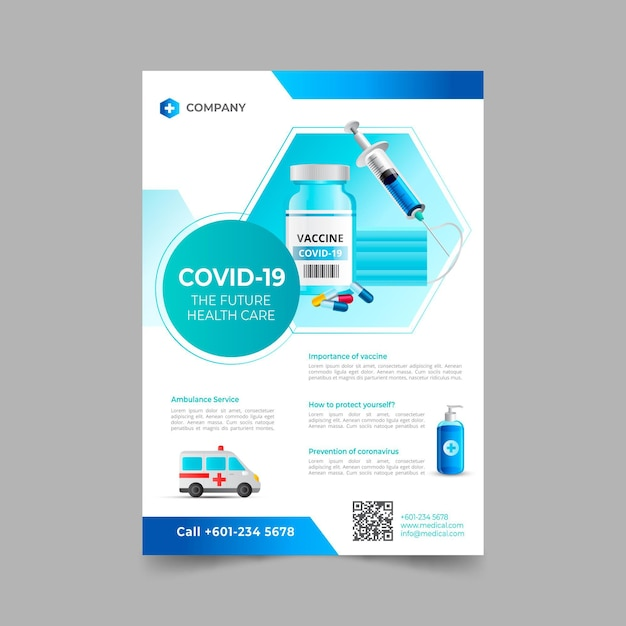 Realistic coronavirus medical products flyer template Premium Vector