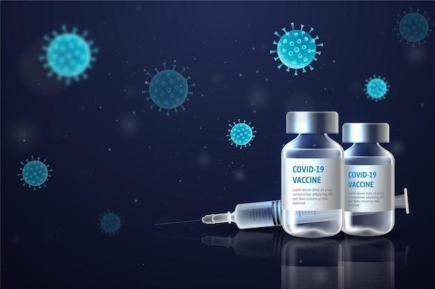 Realistic coronavirus vaccine background Premium Vector
