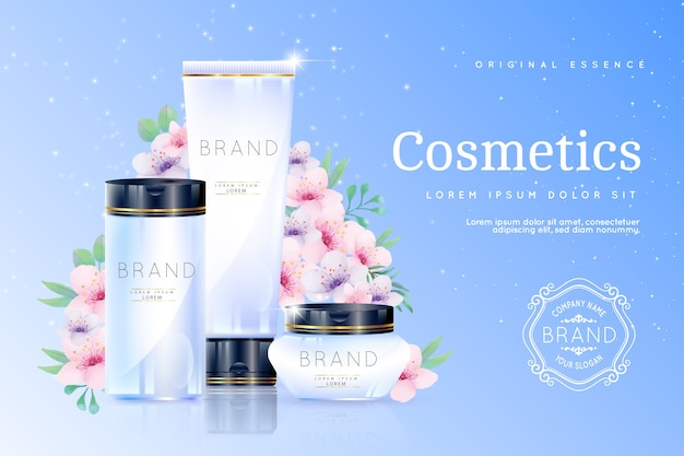 Realistic cosmetic background with beauty products Free Vector