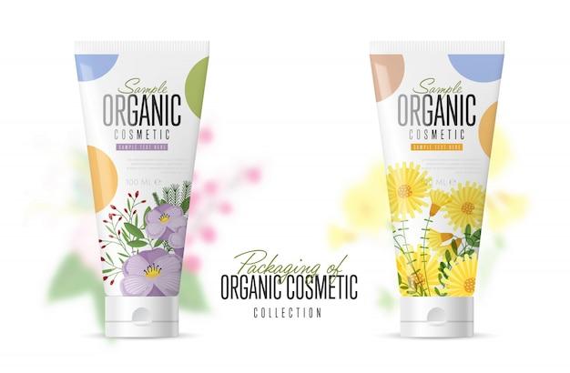 Realistic cosmetic brand mockup set Premium Vector