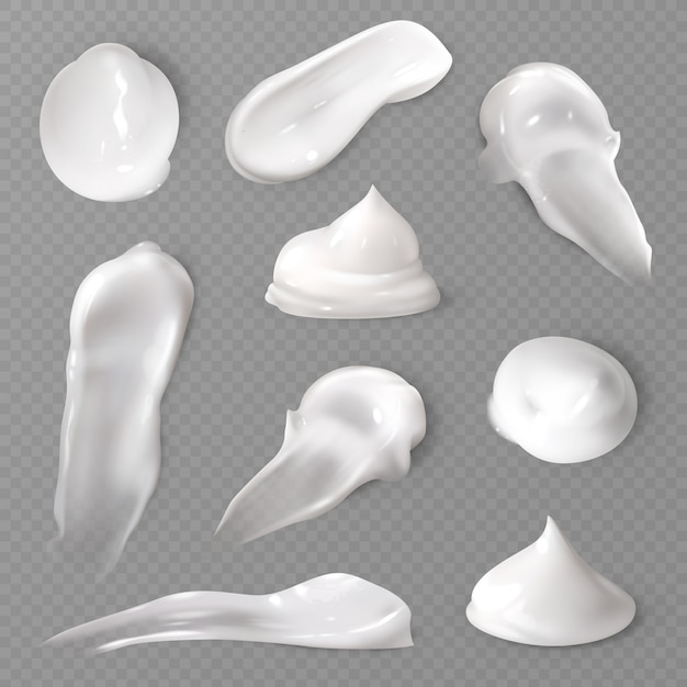 Realistic cosmetic cream smears set Premium Vector