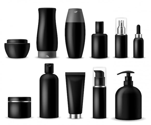 現実的な化粧品のモックアップ。黒の化粧品ボトル、コンテナー、瓶。女性の美容製品。スプレー、石鹸、クリームのパッケージ Premiumベクター