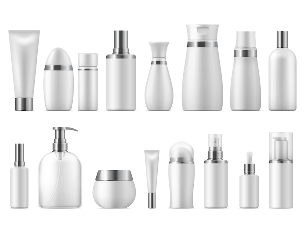 Реалистичная косметическая упаковка. косметический продукт красоты пустой белый пакет спа косметика пустой. пластиковая бутылка для ухода Premium векторы