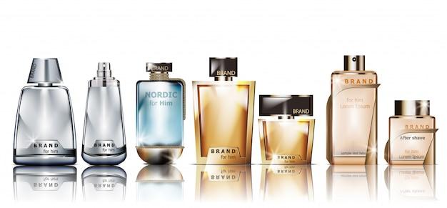 Realistic cosmetic perfume bottles mockup Premium Vector
