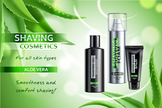 Realistic cosmetic shaving products with aloe vera advertising composition on blurred green with leaves illustration Free Vector