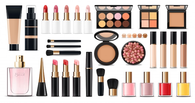 Realistic cosmetics make up set, big collection makeup product, powder, lipstick, mascara, makeup brush, eye shadow, concealer, nail polish, perfume and eyeliner,  facial set Premium Vector
