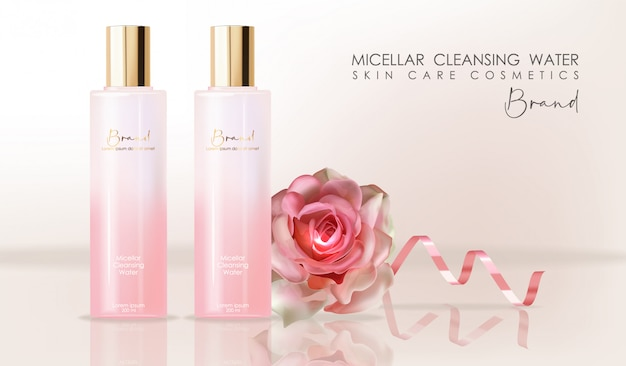 Realistic cosmetics skin care, micellar cleansing water, pink bottle packaging Premium Vector