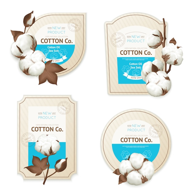 Realistic cotton emblem package icon set with cotton oil sea soft description Free Vector