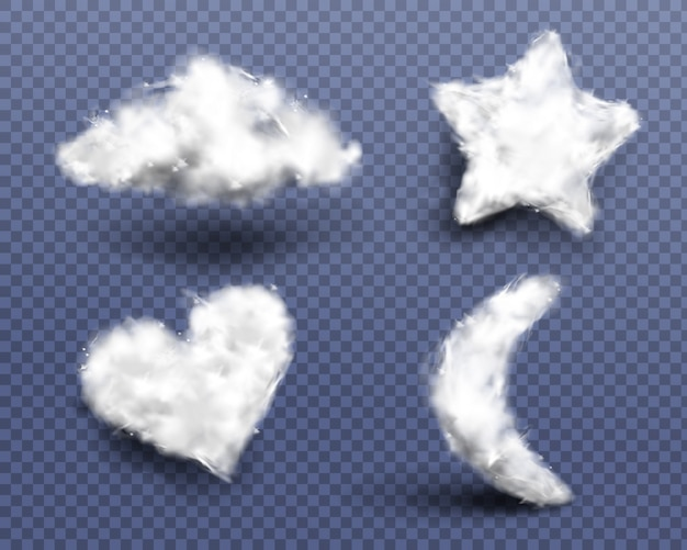 Realistic cotton wool, clouds or wadding balls set Free Vector