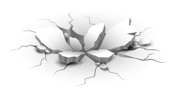 Realistic crack in earth with pieces of stones Free Vector